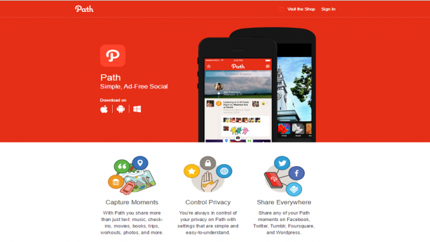 path app landing page screenshot