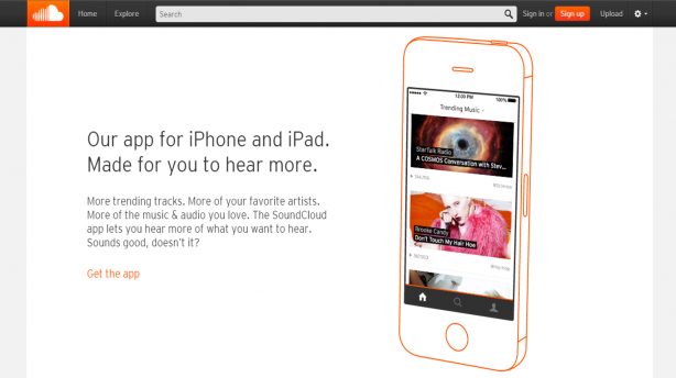 Soundcloud uses animated screenshots to showcase the user experience