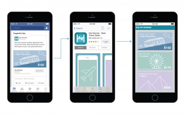 Facebook deep linking in-app purchase