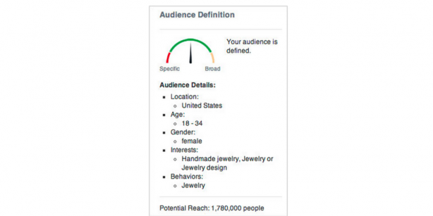 View your ad campaign's potential reach as you configure the many targeting options (Credit: Facebook)