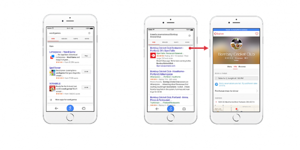 iOS apps (left) and content (right) will now show up in Google search