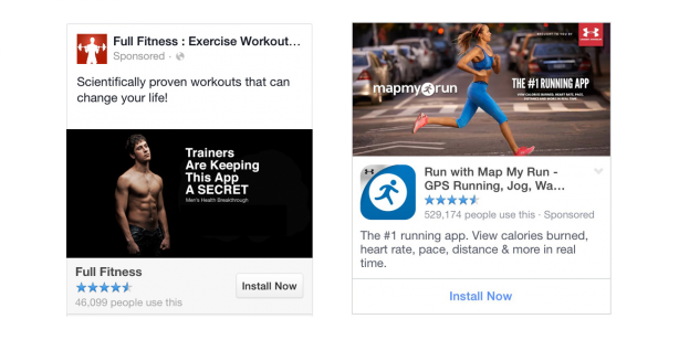 fitness apps fb install ad