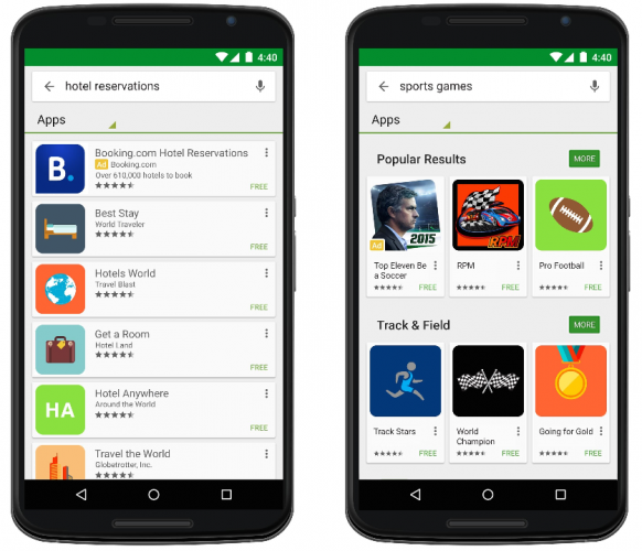 App ads are displayed at the top of Google Play search results
